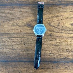 GUESS watch, with genuine black leather strap